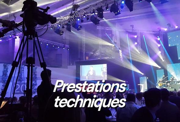 Sonorisation - Éclairage - Photo - Vidéo - Écran géant - Prestation technique - Location matériel événementiel - Estrade - Scène